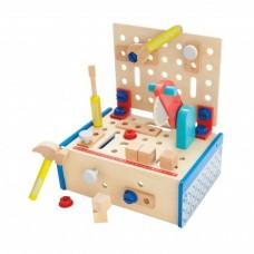 Детска дървена работна маса с циркуляр и инструменти